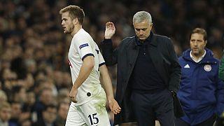 Tottenham head coach Jose Mourinho substitutes off Eric Dier