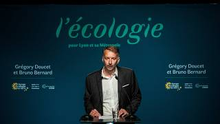 French EELV (Europe Ecologie Les Verts) green party candidate for Lyon metropole Bruno Bernard speaks on June 28, 2020 in Lyon.