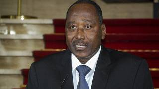 Amadou Gon Coulibaly, then secretary general of the presidency, speaks at the presidential palace in Abidjan, Ivory Coast Friday, April 13, 2012.