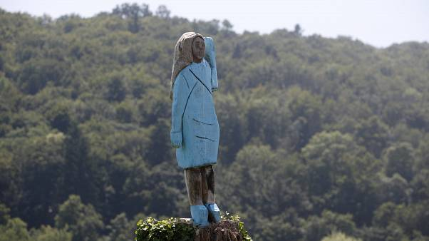 Wooden Sculpture of Melania Trump Set Ablaze in Slovenia