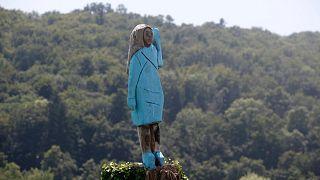 ABD Başkanı Donald Trump'ın eşi Melania Trump'ın Slovenya'da bulunan heykeli