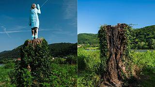 Esta combinación de imágenes creadas el 7 de julio de 2020 muestra (Izquierda) una foto de archivo tomada en julio de 2019 de lo que el artista conceptual Ales 'Maxi' Zupevc.