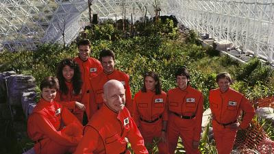 The 'biospherians' in their bright red jumpsuits.