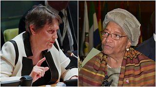 رئيسة الوزراء النيوزيلندية السابقة هيلين كلارك (يسار) والرئيسة الليبيرية السابقة إيلن جونسون سيرليف (يمين)