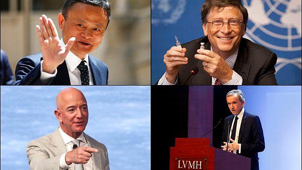 Dünyanın en zenginleri arasında yer alan iş insanları Jack Ma, Jeff Bezos, Bill Gates ve Bernard Arnault.