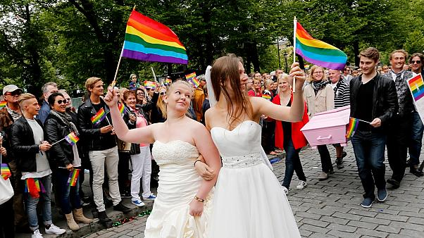 """Participants of the lesbian, gay, bisexual and transgender (LGBT) """"Euro Pride"""" parade march through Oslo"""