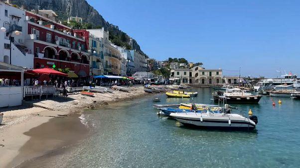 Capri, vacía de turistas extranjeros debido al coronavirus