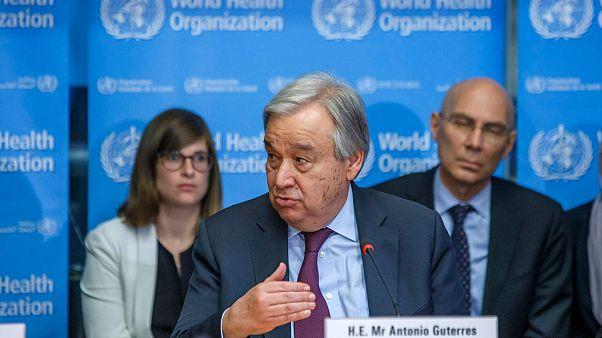 الأمين العام للأمم المتحدة أنطونيو غوتيريش، مقر منظمة الصحة العالمية في جنيف، سويسرا، الاثنين 24 فبراير 2020