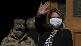 Bolivia's interim President Jeanine Anez, wearing a face mask to help curb the spread of the new coronavirus, in Corpus Christi, La Paz, Bolivia, July 9, 2020.