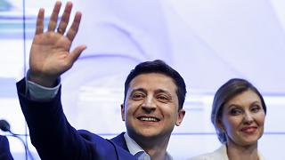 Volodymyr Zelenskiy and his wife Olena after securing victory in the presidential election in 2019