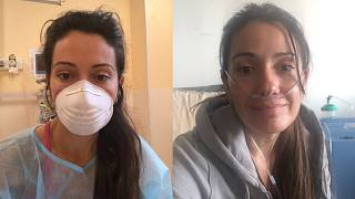 Geneviève waits for her scan results in April (L); she starts her oxygen treatment in June (R).