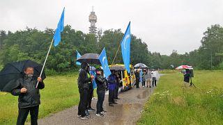 Urumçi olaylarını İsveç'te protesto eden Uygurlar