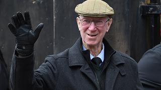 Former England player Jack Charlton arrives for the funeral service of former goalkeeper Gordon Banks at Stoke Minster, in Stoke on Trent, England, Monday March 4, 2019.