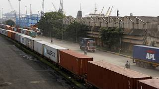 Shipping containers roll out of a port on the Bay of Bengal which forms the northeastern part of the Indian Ocean, in Chennai, India