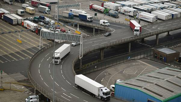Freight lorries prepare to leave the Port of Dover after disembarking from a cross-channel ferry, in Dover on the south coast of England on June 12, 2020.