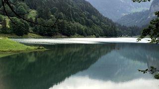 Lake Montriand. The venue for triathlon swimming in the Morzine area.