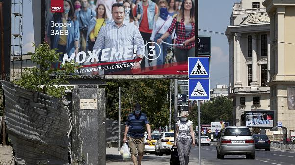 An election poster in Skopje showing Zoran Zaev, the leader of the ruling Social Democrats
