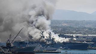 آتشسوزی و انفجار در عرشه ناو جنگی آمریکا؛ دستکم ۲۱ نفر زخمی شدند