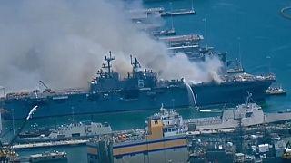 ABD savaş gemisinde yangın: En az 21 asker yaralandı