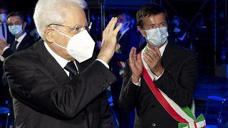 Italian President Sergio Mattarella (L) attends a ceremony for the COVID-19 victims in Bergamo, June 28, 2020