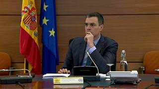 El presidente del Gobierno español, Pedro Sánchez, durante una reunión con sus ministros
