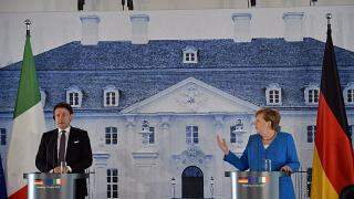German Chancellor Angela Merkel and Italian Prime Minister Giuseppe Conte attend a press conference outside Berlin on July 13, 2020.