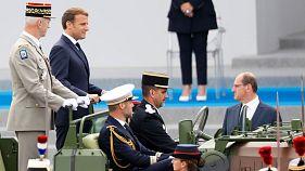 Le président français, Emmanuel Macron, à son arrivée place de la Concorde à Paris à l'occasion du 14 juillet 2020