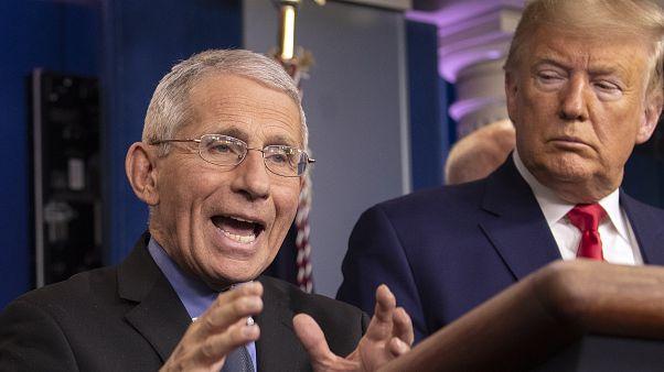 بخبير الأمراض المعدية أنطوني فاوتشي متحدثا في مؤتمر صحفي إلى جانب الرئيس الأمريكي دونالد ترامب