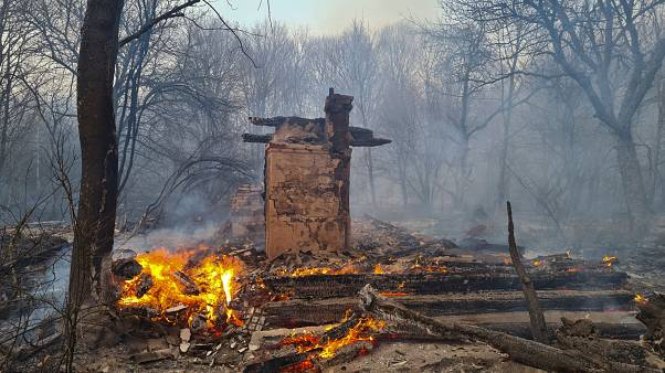 A house burns in the exclusion zone around the Chernobyl nuclear power plant, April 5, 2020