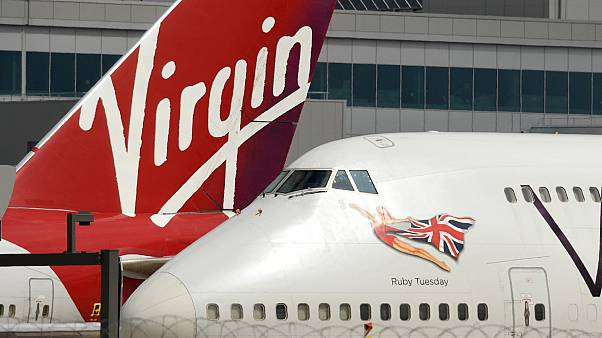 Virgin Atlantic Airline planes at the Manchester Airport in north-west England, on June 8, 2020