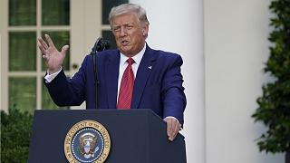 Donald Trump speaks at press conference in the Rose Garden at the White House on July 14.