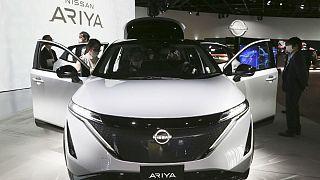 Nissan Motor Co.'s new electric crossover Ariya is displayed at Nissan Pavilion in Yokohama near Tokyo