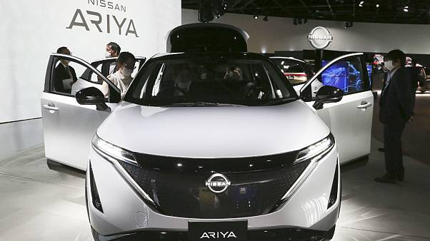 Nissan Motor Co.'s new electric crossover Ariya is displayed at Nissan Pavilion in Yokohama near Tokyo