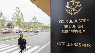 The entrance to the European Court of Justice in Luxembourg.