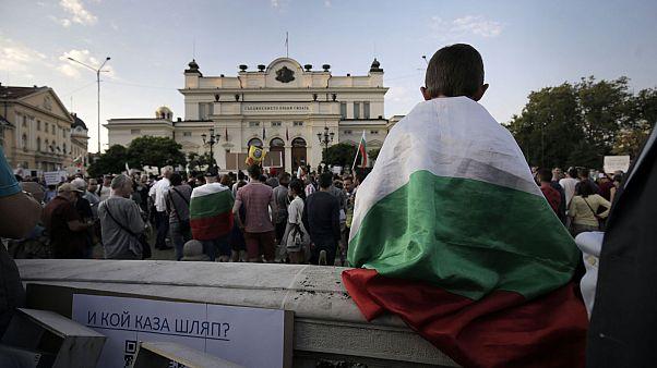Manifestants devant le Parlement bulgare à Sofia, le 15 juillet 2020