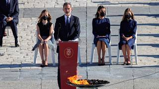 King Felipe VI of Spain during a state tribute in memory of COVID-19 victims  in Madrid, Spain,  July 16, 2020.