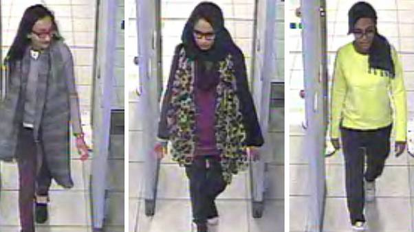 Shamima Begum, centre, going through security at Gatwick airport, before catching a flight to Turkey en route to Syria in February 2015.