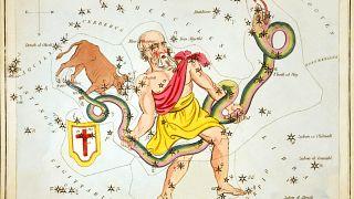 Yılan burcunu temsil eden takımyıldızının illüstrasyonu