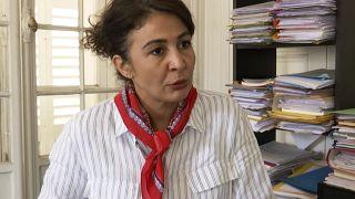 Doria Chouviat, wife of Cedric Chouviat, talks to the Associated Press in Paris, Tuesday, June 23, 2020.