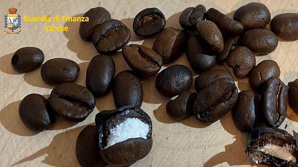 Italian police found cocaine hidden in coffee beans