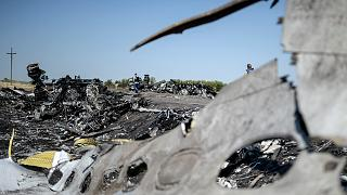 A part of the Malaysia Airlines Flight MH17 at the crash site in the village of Hrabove (Grabovo), some 80km east of Donetsk