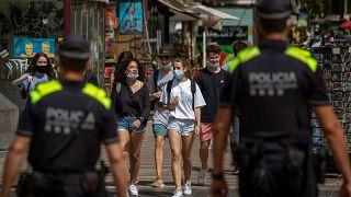 Police on the Ramblas in Barcelona, Spain, earlier in July