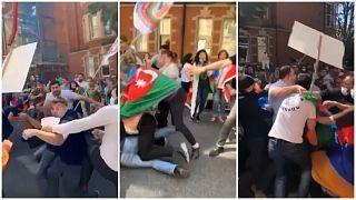 Londra'da Azeri ve Ermeni göstericiler arasında arbede