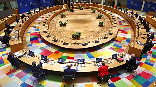 European Union leaders during a round table meeting at an EU summit in Brussels, July 2020.