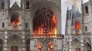 Lángok törnek elő Nantes katedrálisából
