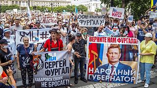 Protest in support of Sergei Furgal, the governor of the Khabarovsk region, in Khabarovsk, 6100 kilometers (3800 miles) east of Moscow, Russia, Saturday, July 18, 2020