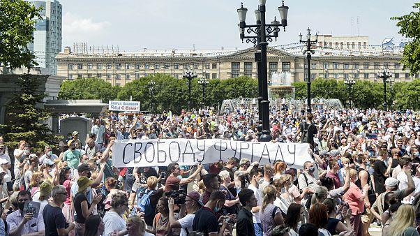 خلال الاحتجاجات على توقيف فورغال في خاباروفسك