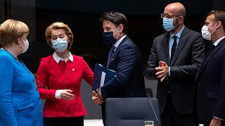 From left, Angela Merkel, Ursula von der Leyen, Giuseppe Conte, Charles Michel and Emmanuel Macron in Brussels, July 18, 2020
