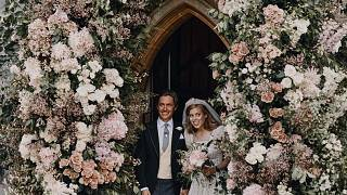 Princess Beatrice and Edoardo Mapelli Mozzi stand in the doorway of The Royal Chapel of All Saints at Royal Lodge, Windsor, England, after their wedding.