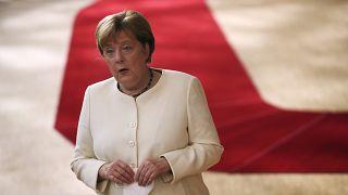 Angela Merkel arrive au sommet à Bruxelles dimanche 19 juillet 2020
